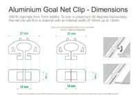 Aluminium Goal Net Clips - Slot Net Fixing - Universal Net Goalpost Net Fixing